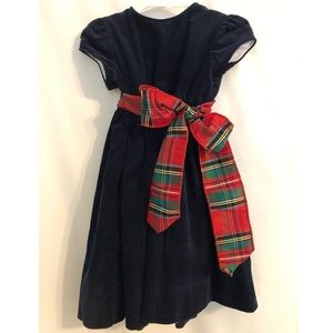 Boutique 2T dress worn once, navy with plaid bow
